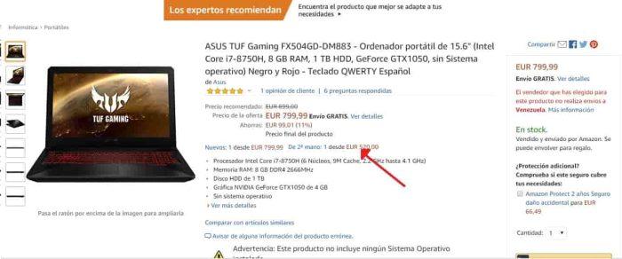 ASUS TUF Gaming FX504 segunda mano