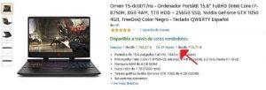 Hp Omen 15 GTX 1050 segunda mano