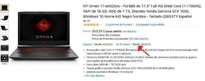 Hp Omen 17-an025ns segunda mano