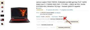 Lenovo Legion Y520 segunda mano