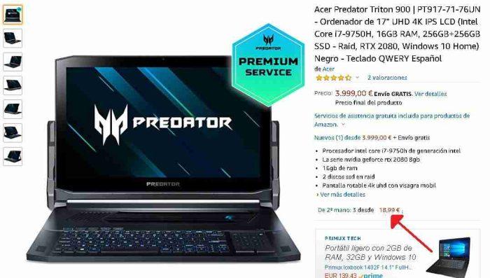 Acer Predator Triton 900 segunda mano