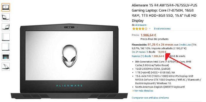 Alienware 15 R4 segunda mano