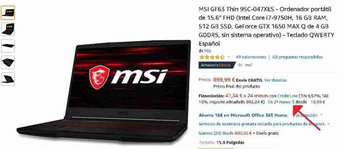 MSI GF63 Thin segunda mano
